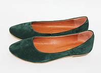 Женские балетки из натурального замша зеленого цвета, фото 1