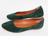 Жіночі балетки з натурального замша зеленого кольору, фото 2