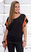 Женская блуза Celia Zaps черного цвета с коротким рукавом.