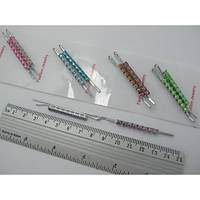 Невидимки серебристые с цветными камешками