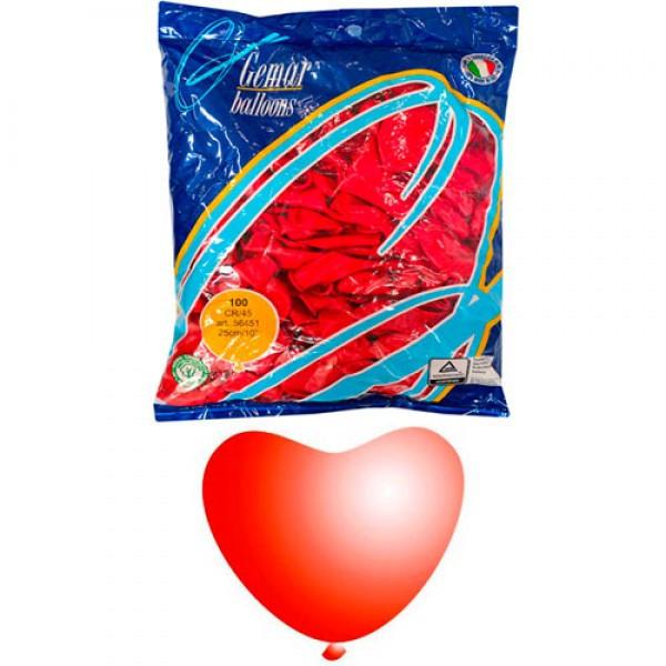 Воздушные шары Сердце 25 см пастель красный 56451