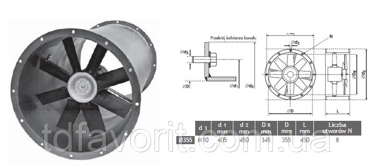 Вентилятор канальный  Deltafan 355/KAN/8/8/30/400/H
