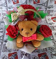 Букет из игрушек(1 игрушка,3 цветка)