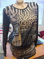 """Платье-туника женская с длинным рукавом """"Шоколад/башня"""""""