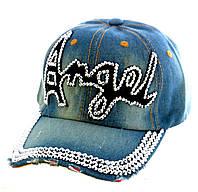 """Джинсовая кепка со стразами """"Angel"""""""