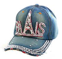 """Джинсовая кепка со стразами """"Paris"""""""