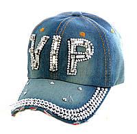 """Джинсовая кепка со стразами """"Vip"""""""