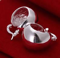 Очень красивые большие серебренные серьги 925 полумяч