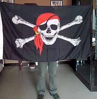Черный флаг череп пиратский Веселый Роджер большой 1500 х 1000 мм бандана серьга символика и мифология пирата