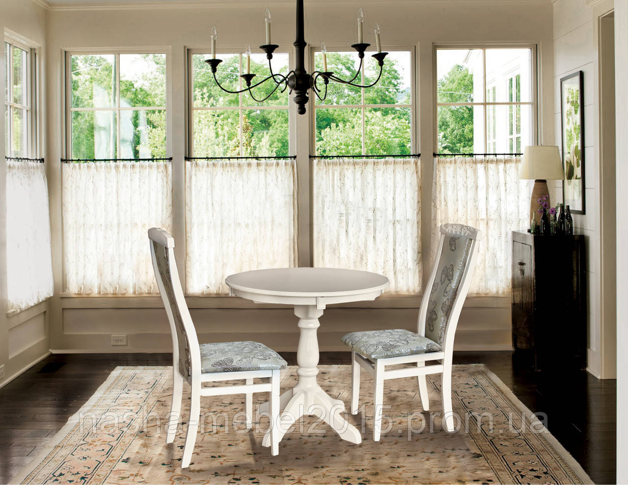 Стол обеденный деревянный раскладной Чумак-2 слоновая кость