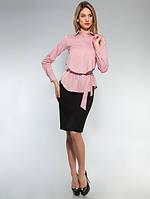 Блузка стильная офисная с поясом фреза