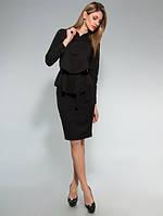 Блузка стильная офисная с поясом чёрная