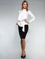 Блузка стильная офисная с поясом белая