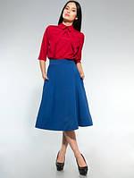 Блузка стильная офисная с галочкой красная