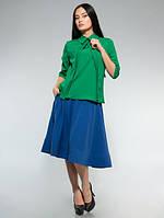 Блузка стильная офисная с галочкой зелёная