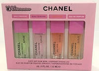 Подарочный набор с феромонами CHANEL - 4шт по 15мл (розовая коробка) ABD