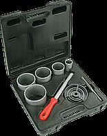 Сверла для плитки с вольфрамовым напылением - 32-83 мм, набор 5 шт + напильник, VERTO 60H900