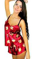 Женская пижама бордо с оригинальным и стильным принтом. Размеры 42 - 48. Опт и розница в Украине.