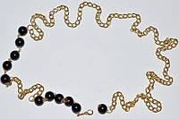 Пояс-цепочка с имитац. черн. жемчуга, желт.металл, D бусины - 1 см  27_2_104a6