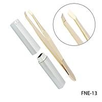 Пинцет для бровей FNE-13 скошенный, фигурный в футляре,