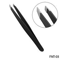 Пинцет для бровей FNT-03 профессиональный скошенный, прямой черный,