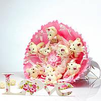 Букет из игрушек Мишки 9 в розовом