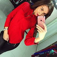 """Женская рубашка """" Linen"""" красная DB-343"""