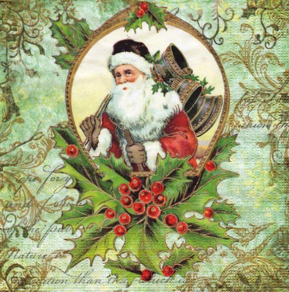 Салфетка декупажная Санта с колокольчиками 5594