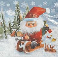 Салфетка декупажная Санта на санках 5705