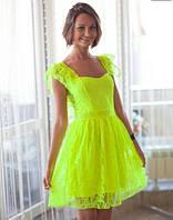 Платье - сарафан из гипюра (лайм) 42-44