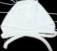 Шапочка на завязках, швы наружу, тонкая, для новорожденного, ТМ Мамина мода, р.: 56