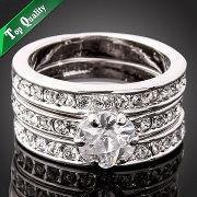 Кільце TRIO SILVER ювелірна біжутерія родій декор кристали Swarovski