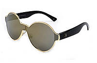 Круглые очки без оправы, золотистая тонировка, черные душки, унисекс, фото 1