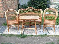 Простой набор плетеной мебели для кафе диван, столик, кресла