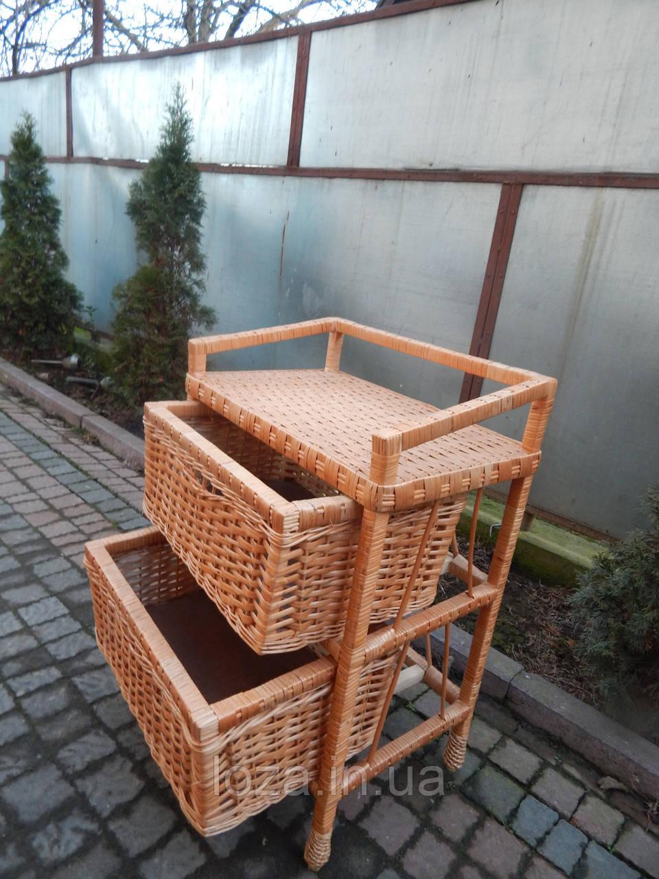 Комод из лозы плетеный два ящика