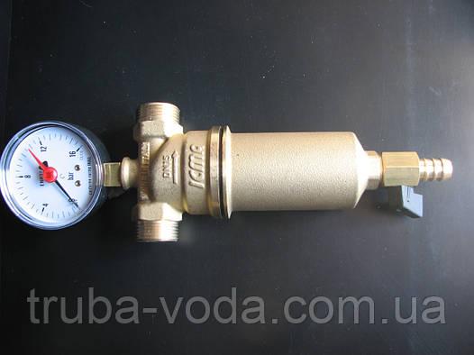 """Фильтр  промывной ICMA 1/2""""ВР-3/4""""НР для тонкой очистки с манометром,  латунной колбой для тонкой очистки воды"""