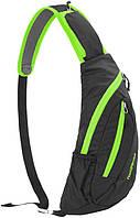 Нагрудная сумка-рюкзак NatureHike чёрный-зелёный NH23X008-K