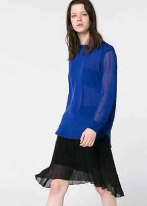 Блуза женская MANGO размер L 50 RU шифоновая с прозрачными рукавами, фото 3
