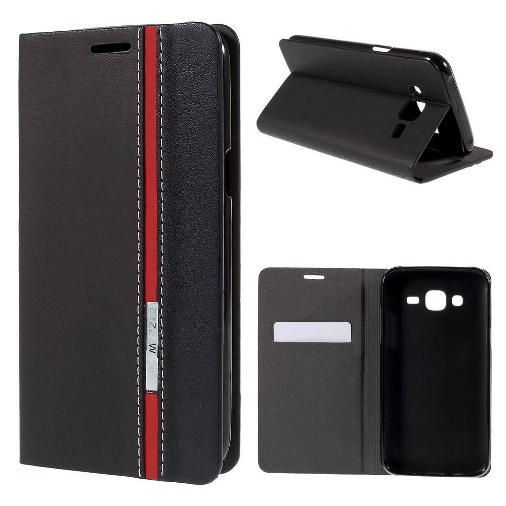 Чехол книжка на Samsung Galaxy J5 J500H боковой с отсеком для визиток, с красной полоской