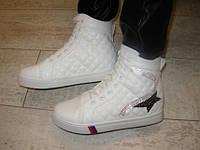 Д435 - Женские демисезонные ботиночки сникерсы белые стеганые