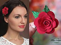 """""""Роза с листиками"""" авторская заколка для волос ручной работы"""