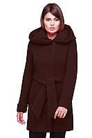 Однотонное молодежное пальто под пояс с карманами