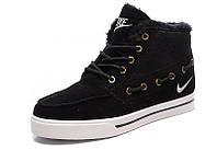 Зимние мужские кроссовки Nike High Top Fur (найк топ фюр, оригинал) черные с мехом