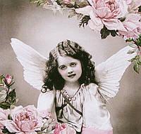 Салфетка декупажная Ретро - девочка-ангел с розами 5548