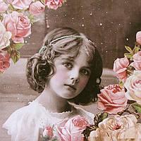 Салфетка декупажная Ретро - девочка с розами 5514
