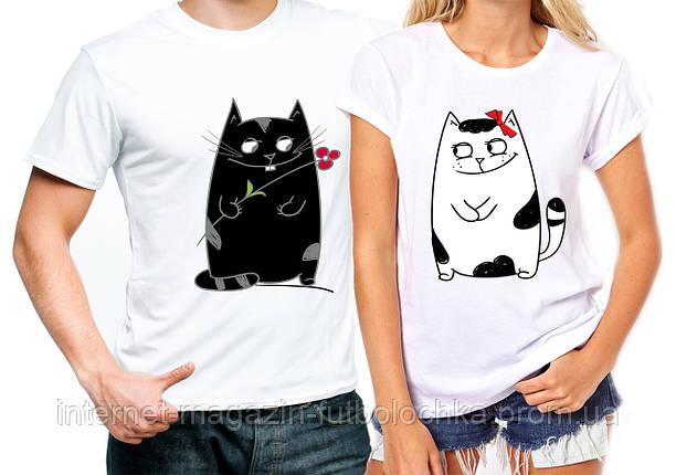 """Парные футболки """"Влюблённые котики"""", фото 2"""