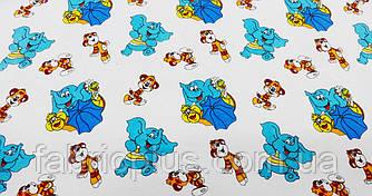 Фланель  набивная  220  голубые  слоники  и  тигрята