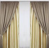 Готовые  льняные шторы  в гостинную