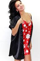 Ночная рубашка и халатик в комплекте - шелк. Размеры 40 - 50. Красивые комплекты: пеньюар и халат атлас.