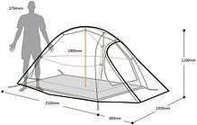 Палатка ультралёгкая 2-х местная NatureHike Cloud Up 2 полиэстер NH15T002-T, фото 3